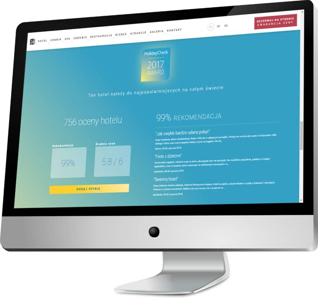 Informacje o nagrodach zdobytych przez hotel i widgety z ocenami