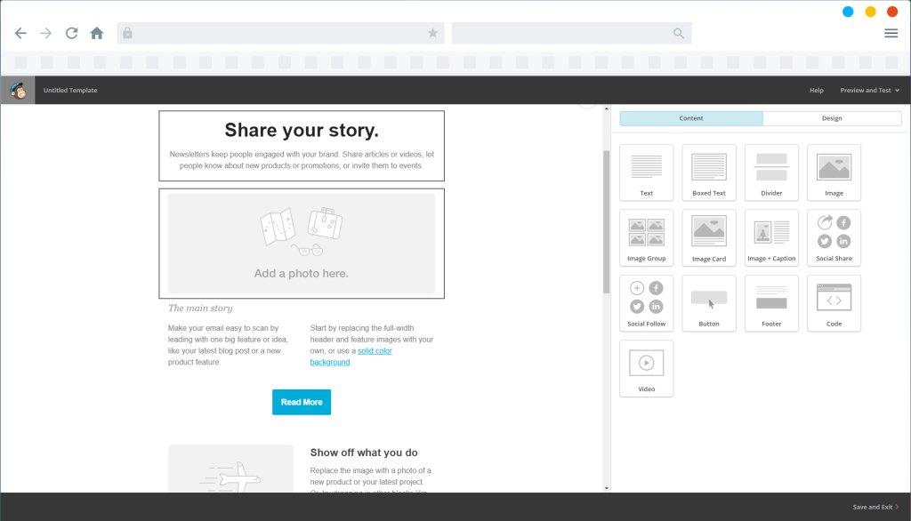 Edytor szablonów w narzędziu MailChimp